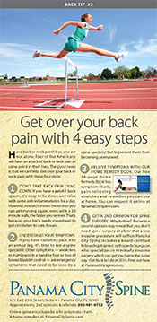 Lower back pain remedy brochure